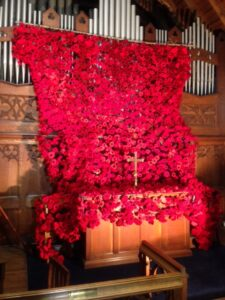 Poppies over the organ at Christ Church Stonegravels